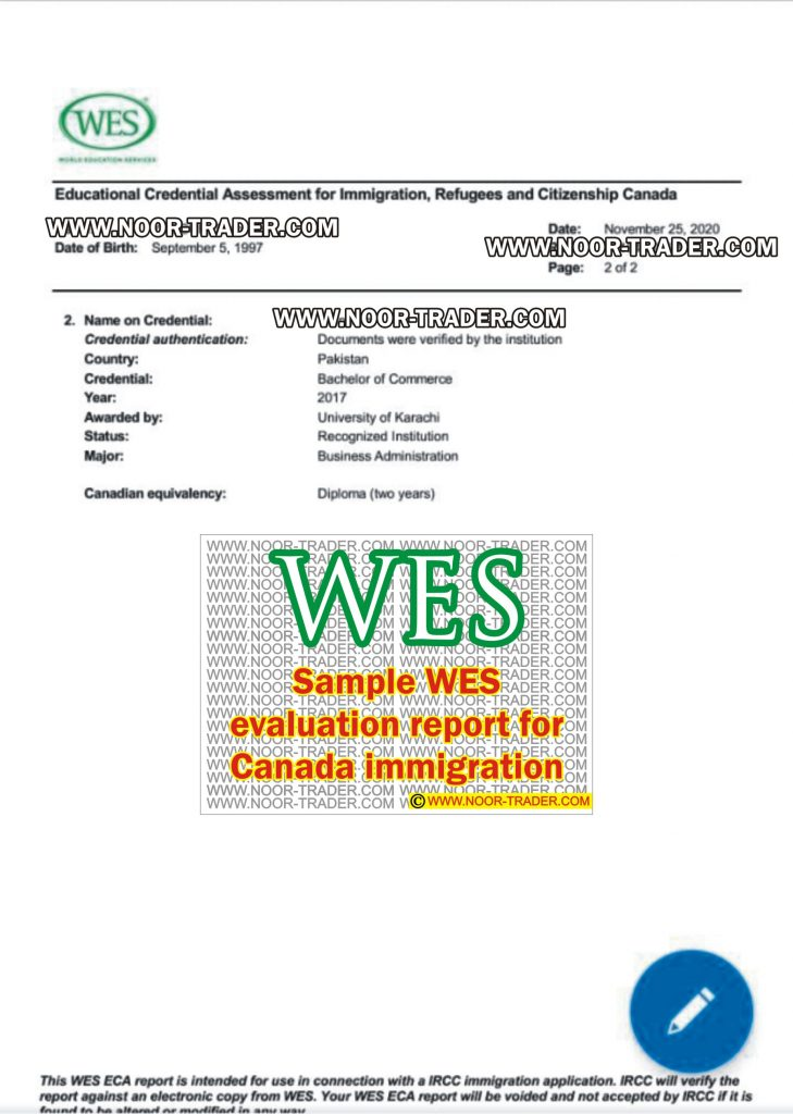 Sample WES evaluation report for Canada immigration